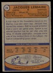 1974 Topps #24  Jacques Lemaire  Back Thumbnail