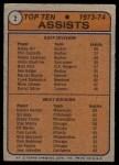 1974 Topps #2   -  Bobby Orr / Dennis Hextall Assists Leaders Back Thumbnail