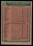 1975 Topps Mini #466   -  Rollie Fingers / Reggie Jackson / Dick Williams 1974 World Series - Summary - A's Do it Again Back Thumbnail