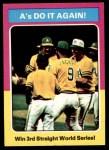 1975 Topps Mini #466   -  Rollie Fingers / Reggie Jackson / Dick Williams 1974 World Series - Summary - A's Do it Again Front Thumbnail
