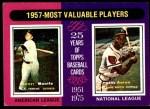 1975 Topps Mini #195   -  Mickey Mantle / Hank Aaron 1957 MVPs Front Thumbnail