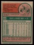 1975 Topps Mini #650  Dave May  Back Thumbnail