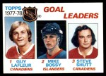 1978 Topps #63   -  Guy Lafleur / Mike Bossy / Steve Shutt League Leaders Front Thumbnail