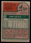 1975 Topps Mini #319  Johnny Oates  Back Thumbnail