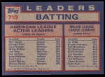 1984 Topps #710   -  Rod Carew / George Brett / Cecil Cooper AL Active Batting Leaders Back Thumbnail
