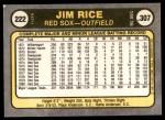 1981 Fleer #222  Jim Rice  Back Thumbnail