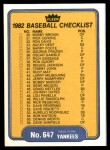 1982 Fleer #647   Yankees / Dodgers Checklist Back Thumbnail