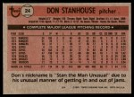 1981 Topps #24  Don Stanhouse  Back Thumbnail