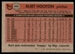 1981 Topps #565  Burt Hooton  Back Thumbnail