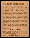 1940 Play Ball #129  Bucky Harris  Back Thumbnail