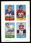 1969 Topps 4-in-1 Football Stamps  Larry Bowie / Willis Crenshaw / Paul Flatley / Tommy Davis  Front Thumbnail
