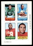 1969 Topps 4-in-1 Football Stamps  Ralph Baker / Les Duncan / Bobby Bell / Eric Crabtree  Front Thumbnail