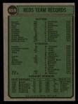 1974 Topps #459   Reds Team Back Thumbnail