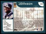 2001 Topps #143  Charles Johnson  Back Thumbnail
