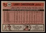 1981 Topps #346  Larry Christenson  Back Thumbnail