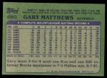 1982 Topps #680  Gary Matthews  Back Thumbnail