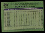 1982 Topps #581  Ron Reed  Back Thumbnail