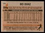 1983 Topps #175  Bo Diaz  Back Thumbnail