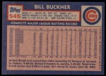 1984 Topps #545  Bill Buckner  Back Thumbnail