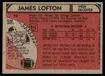 1980 Topps #78  James Lofton  Back Thumbnail