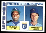 1984 Topps #96   -  Hal McRae / Larry Gura Royals Leaders & Checklist Front Thumbnail