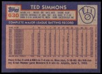 1984 Topps #630  Ted Simmons  Back Thumbnail