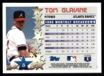 1996 Topps #8  Tom Glavine  Back Thumbnail