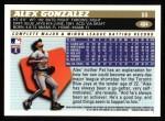 1996 Topps #404  Alex Gonzalez  Back Thumbnail