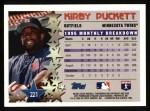 1996 Topps #221   -  Kirby Puckett Star Power Back Thumbnail