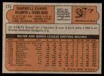 1972 Topps #171  Darrell Evans  Back Thumbnail