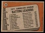 1972 Topps #86   -  Bobby Murcer / Tony Oliva / Merv Rettenmund AL Batting Leaders   Back Thumbnail
