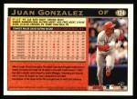 1997 Topps #124  Juan Gonzalez  Back Thumbnail