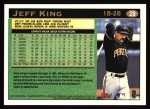 1997 Topps #28  Jeff King  Back Thumbnail