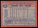 1991 Topps #36  Donnie Hill  Back Thumbnail