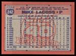1991 Topps #242  Mike LaCoss  Back Thumbnail