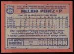1991 Topps #499  Melido Perez  Back Thumbnail