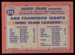 1991 Topps #579  Roger Craig  Back Thumbnail
