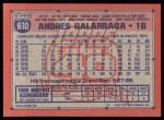 1991 Topps #610  Andres Galarraga  Back Thumbnail