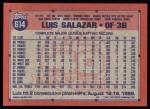 1991 Topps #614  Luis Salazar  Back Thumbnail
