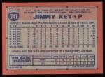 1991 Topps #741  Jimmy Key  Back Thumbnail