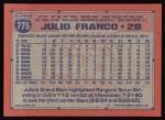 1991 Topps #775  Julio Franco  Back Thumbnail
