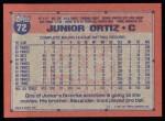 1991 Topps #72  Junior Ortiz  Back Thumbnail