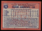 1991 Topps #74  Shane Andrews  Back Thumbnail