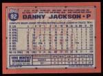 1991 Topps #92  Danny Jackson  Back Thumbnail