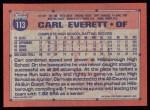 1991 Topps #113  Carl Everett  Back Thumbnail