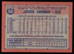 1991 Topps #158  Jose Uribe  Back Thumbnail
