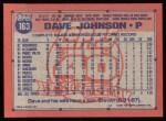 1991 Topps #163  Davey Johnson  Back Thumbnail