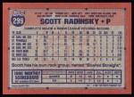 1991 Topps #299  Scott Radinsky  Back Thumbnail