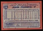 1991 Topps #510  John Franco  Back Thumbnail