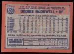 1991 Topps #533  Oddibe McDowell  Back Thumbnail